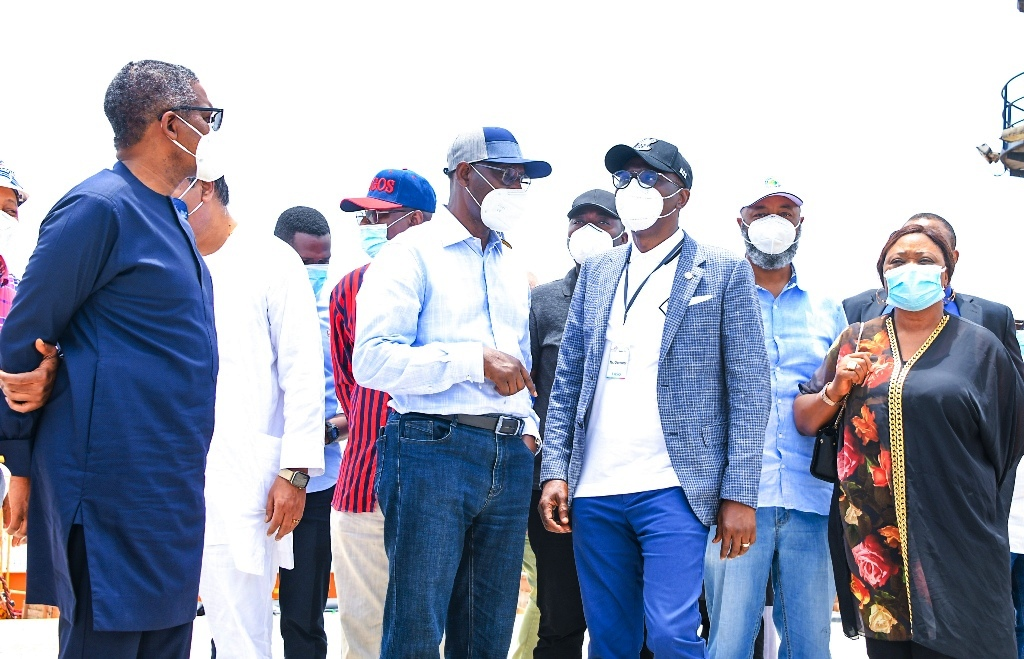 L-R: President, Dangote Group, Alhaji Aliko Dangote; Chairman, Lekki Free Zone Development Company, Mr. Abiodun Dabiri; Lagos State Governor, Mr. Babajide Sanwo-Olu; Deputy Managing Director, Lekki Free Zone Development Company (LFZDC), Mr. Gboyega Balogun and Commissioner for Commerce, Industry & Cooperatives, Dr. (Mrs) Lola Akande, during the Governor's working visit to the Dangote Refinery at the Lekki Free Trade Zone, Ibeju-Lekki, on Saturday, March 20, 2021.