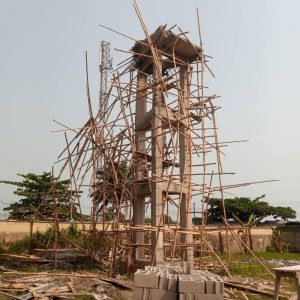 The fallen security post at Badagry Grammar School in Lagos State.