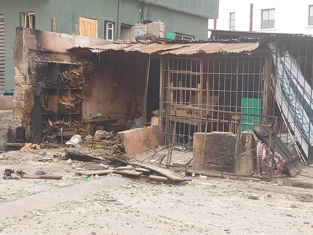 Several shops, tricycles razed by hoodlums, others looted.
