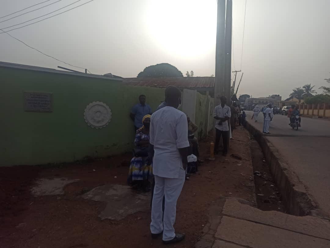 Teachers seated outside C&S college, Sabo Oke