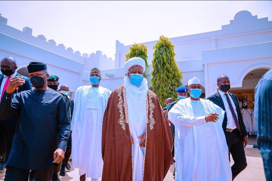 Vice President Yemi Osinbajo SAN pays a visit to the Sultan of Sokoto His Eminence Muhammadu Sa'adu Abubakar III and delivers a lecture at Sokoto State University in Sokoto State. 12th March, 2021. Photos; Tolani Alli