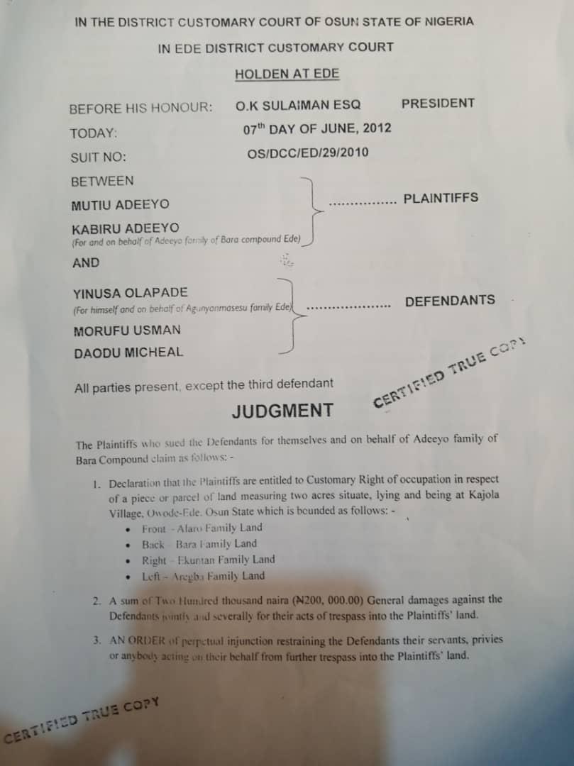 Court judgement against Agunyanmasesu