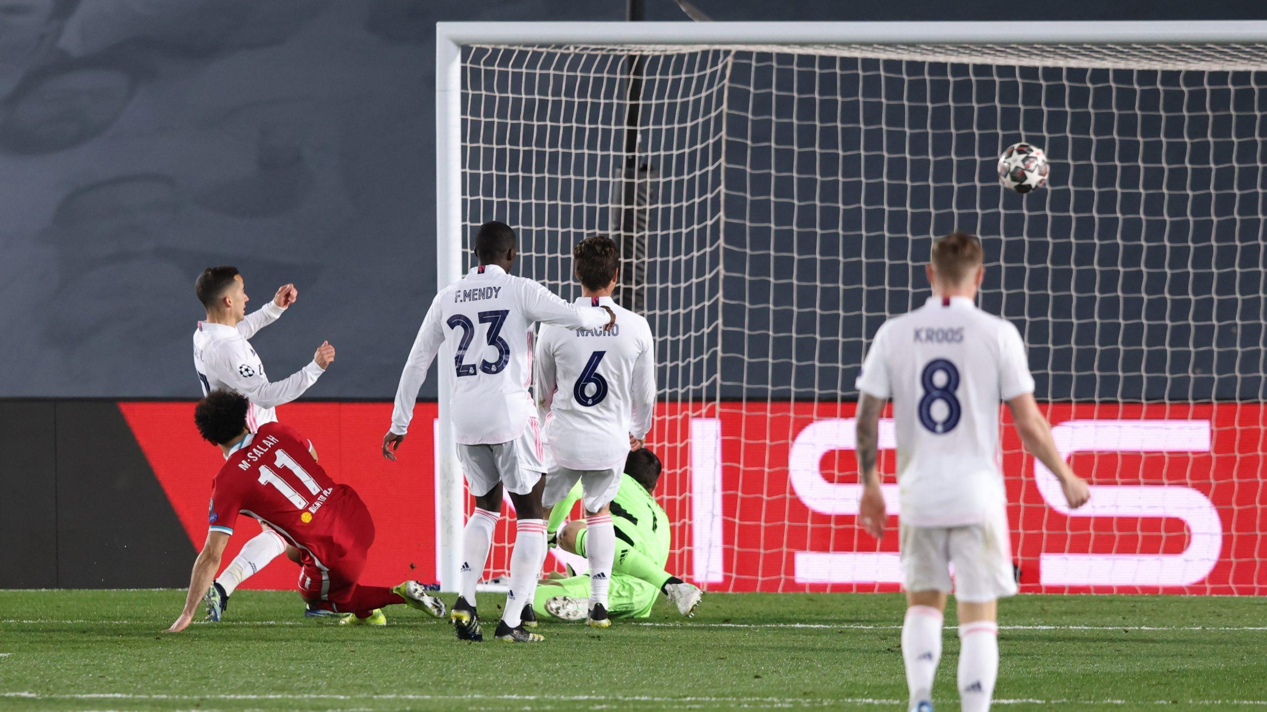 Mohammed Salah scores [PHOTO CREDIT: @LFC]