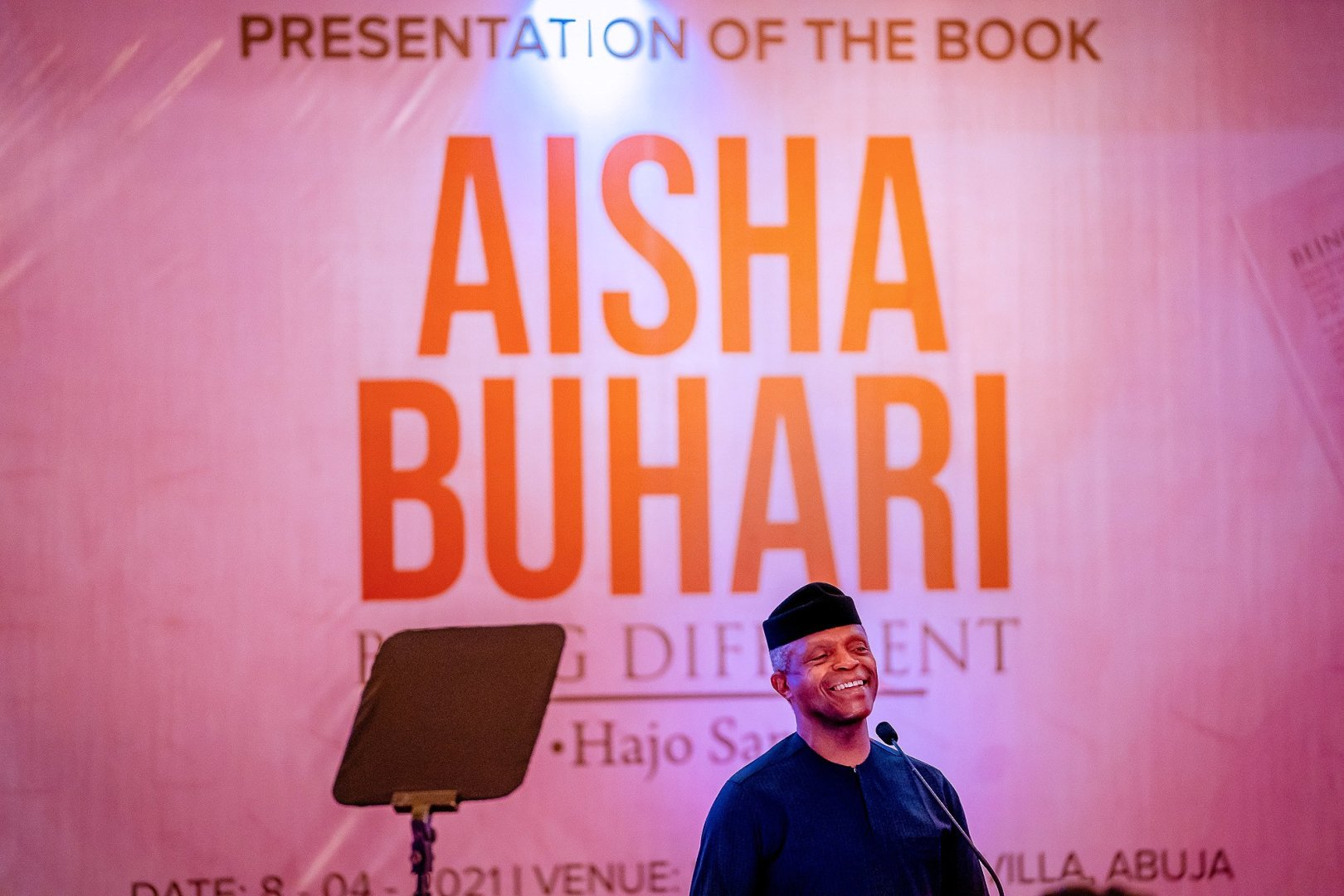 VP Yemi Osibanjo giving his speech during the book launch