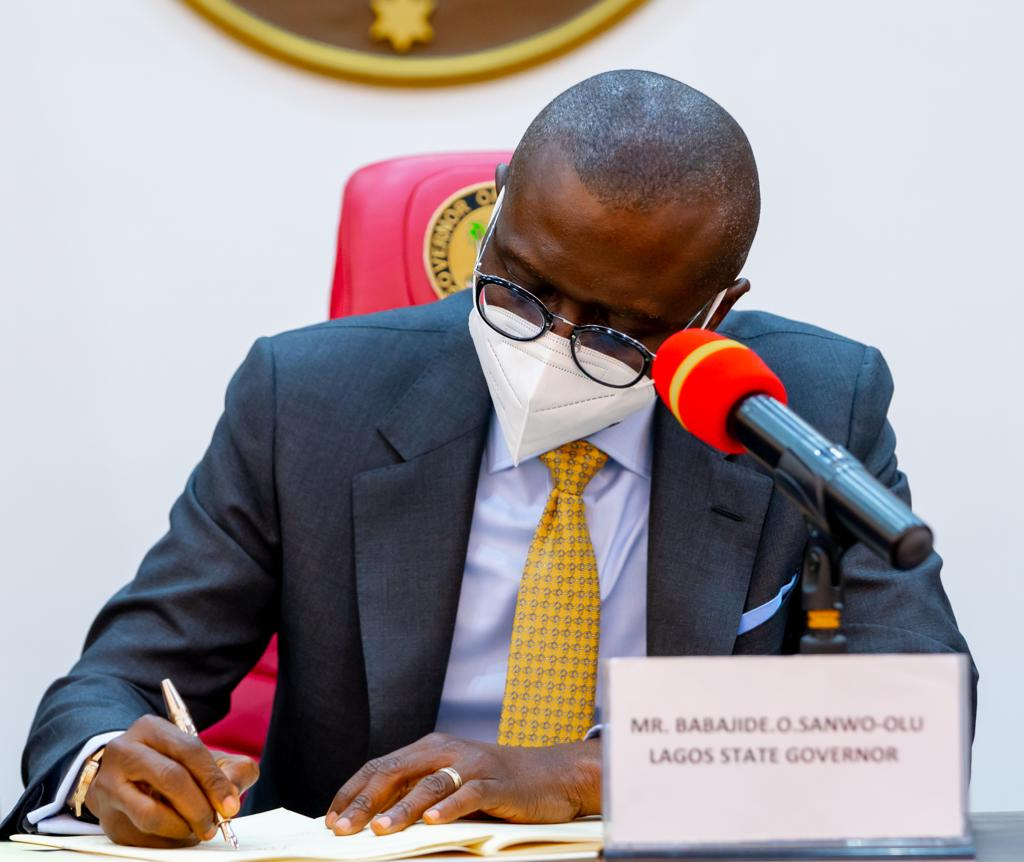 Lagos State Governor, Mr. Babajide Sanwo-Olu the Lagos State Lotteries & Gaming Authority and the Public Complaints & Anti-Corruption Commission bills into Law, at the Conference Room, Lagos House, Ikeja, on Monday, April 19, 2021.