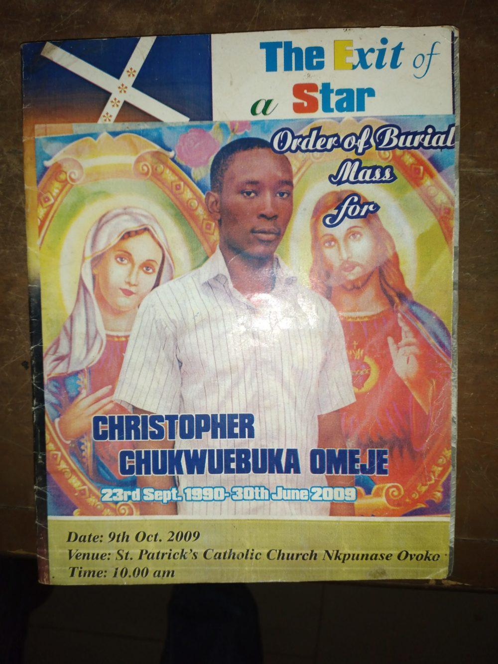 Picture of late Chukwuebuka Omeje