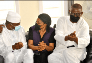 Dimeji Bankole, former Speaker of House of Representatives, wife of the late Afenifere Spokesperson , Joe Okei-Odumakin and Bisi Olatilo.
