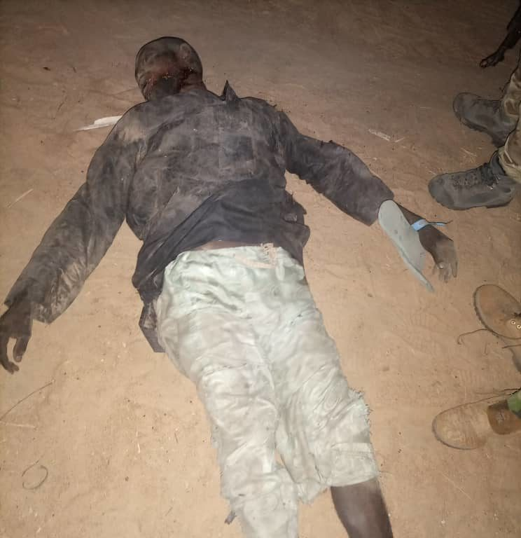 Boko Haram casualty after foiled attack in Maiduguri. [Photo Credit: Nigerian Army]