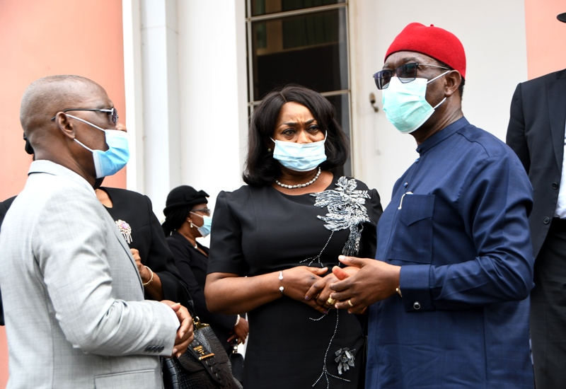 Delta Governor, Senator Dr. Ifeanyi Okowa (right), outgoing Chief Judge of the State, Justice Marshall Umukoro (left) and the President, State Customary Court of Appeal, Justice Patience Elumeze shortly after a courtesy call by Judges of the state's Judiciary on the Governor in Asaba. Tuesday. PIX: BRIPIN ENARUSAI