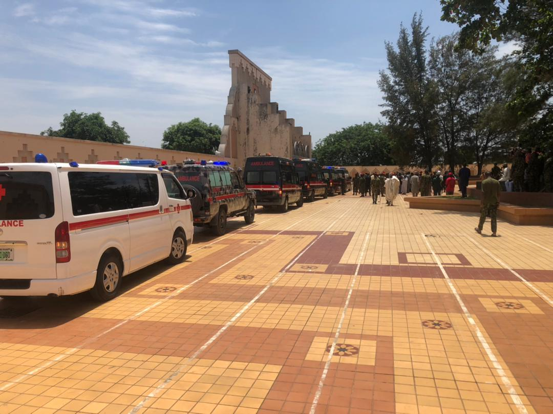 Corpses of the deceased officers conveyed to the national mosque by four ambulances. The funeral prayer will start in a short while