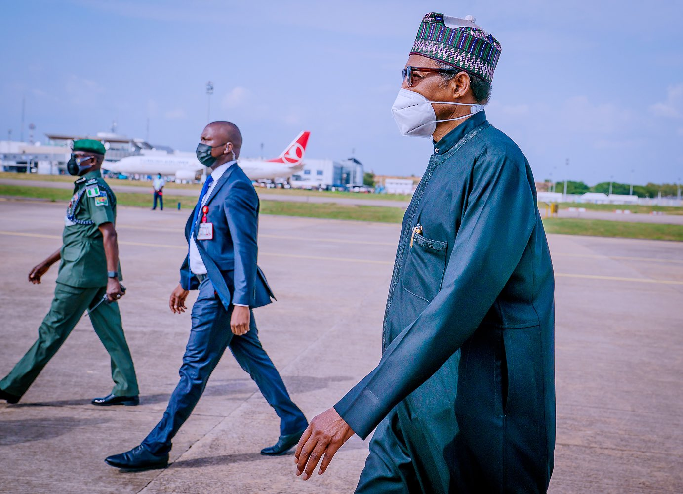 President Muhammadu Buhari returning to Abuja from Paris, France