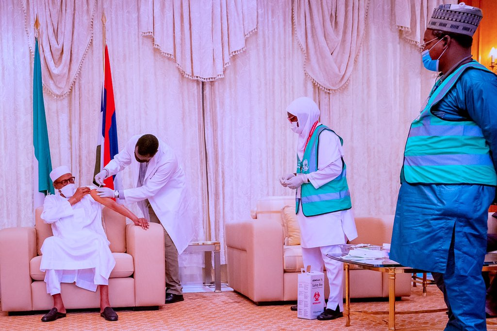 President Muhammadu Buhari received the second dose of the AstraZeneca/Oxford COVID–19 Vaccine, in his official residence, at the State House, Abuja. [PHOTO CREDIT: @BashirAhmaad]