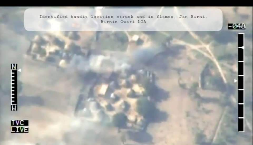 Aerial view of Air Force airstrikes on bandit hideouts in Kaduna