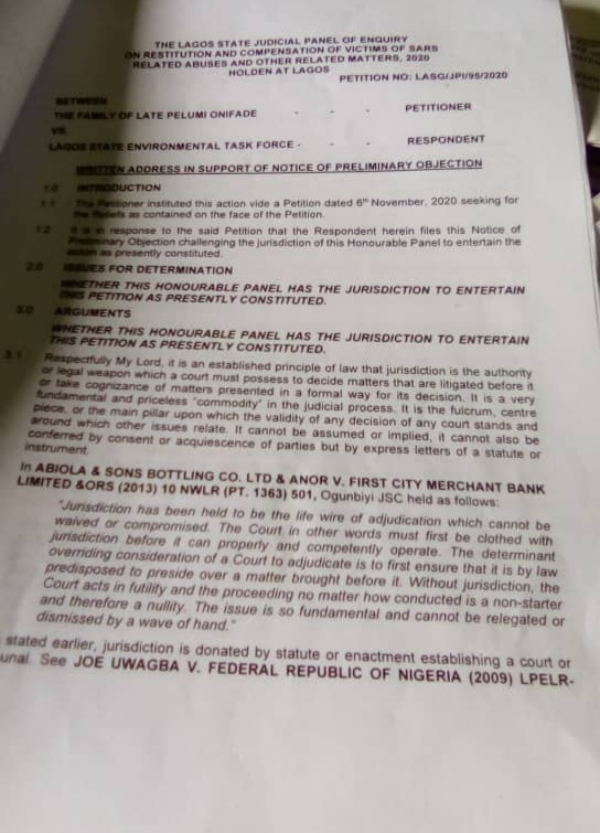 Picture of the Preliminary objection raised by the state government