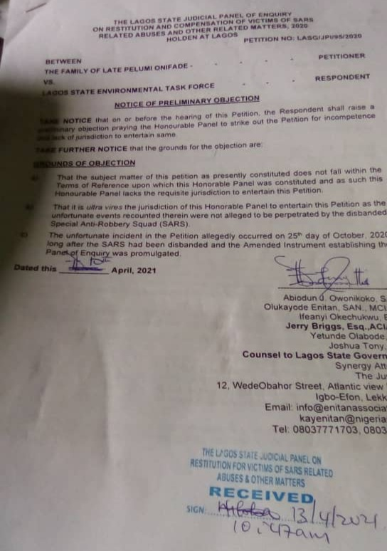 Summary of the Notice of Preliminary Objection