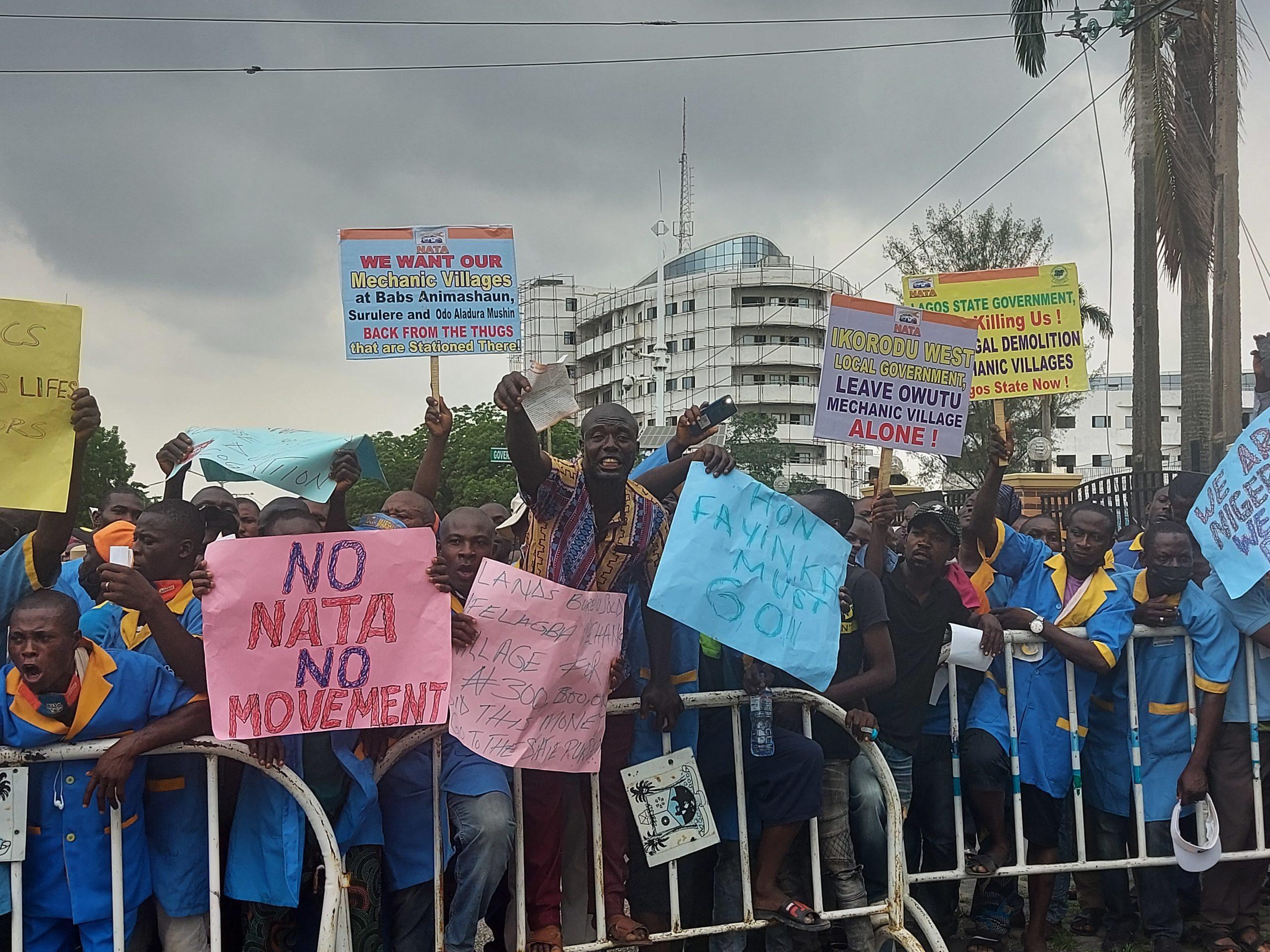Lagos mechanics protest demolition of mechanic workshops and villages.