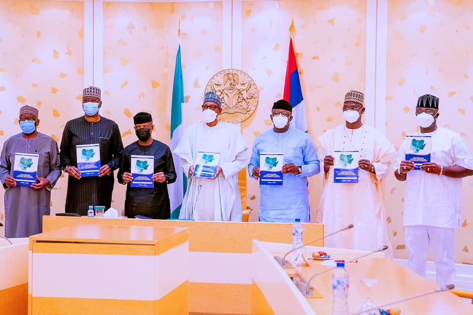 President Muhammadu Buhari inaugurates National Steering Committee (NSC) for the National Poverty Reduction with Growth Strategy (NPRGS) this afternoon at the State House, Abuja. [PHOTO CREDIT: Bashir Ahmad]