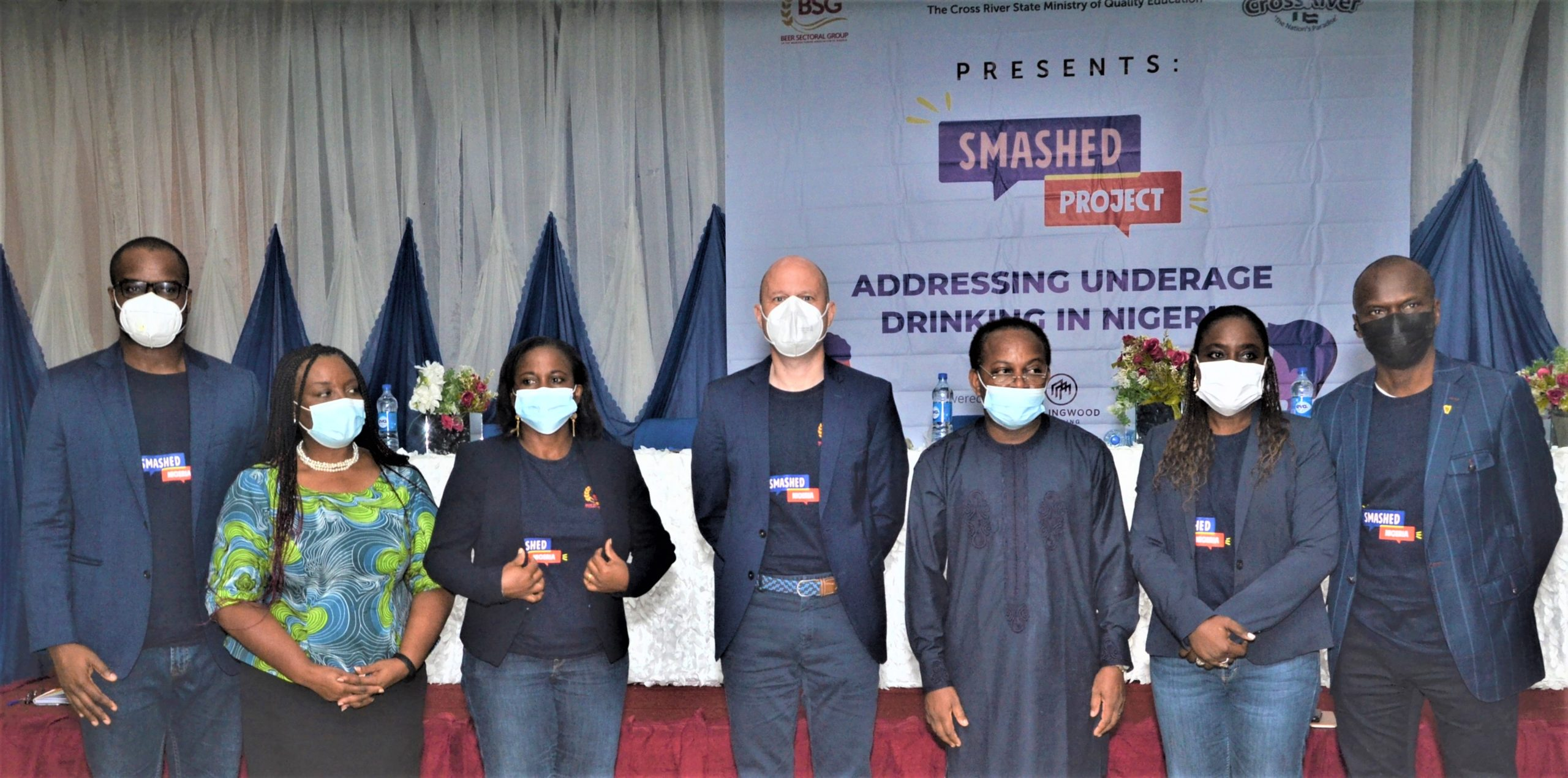 L-R: Tony Eneh, Executive Secretary, Beer Sectoral Group (BSG); Ayo Jaiyesimi, CEO, Thespian Family Theatre & Production; Temitope Oguntokun, Legal and Corporate Affairs Director, International Breweries Plc (a member of the BSG); Jordi Borrut Bel, Chairman, Beer Sectoral Group (BSG) of MAN & MD/CEO Nigerian Breweries Plc; Hon. Dr. Godwin E. Amanke, Commissioner for Quality Education, Cross River State; Sade Morgan - Corporate Affairs Director - Nigerian Breweries (a member of the BSG) and Rotimi Odusola, Corporate Relations Director & Company Secretary, Guinness Nigeria Plc (a member of the BSG) at the Relaunch of the BSG's SMASHED Project (Campaign against Underage Drinking) recently in Calabar, Cross River State.