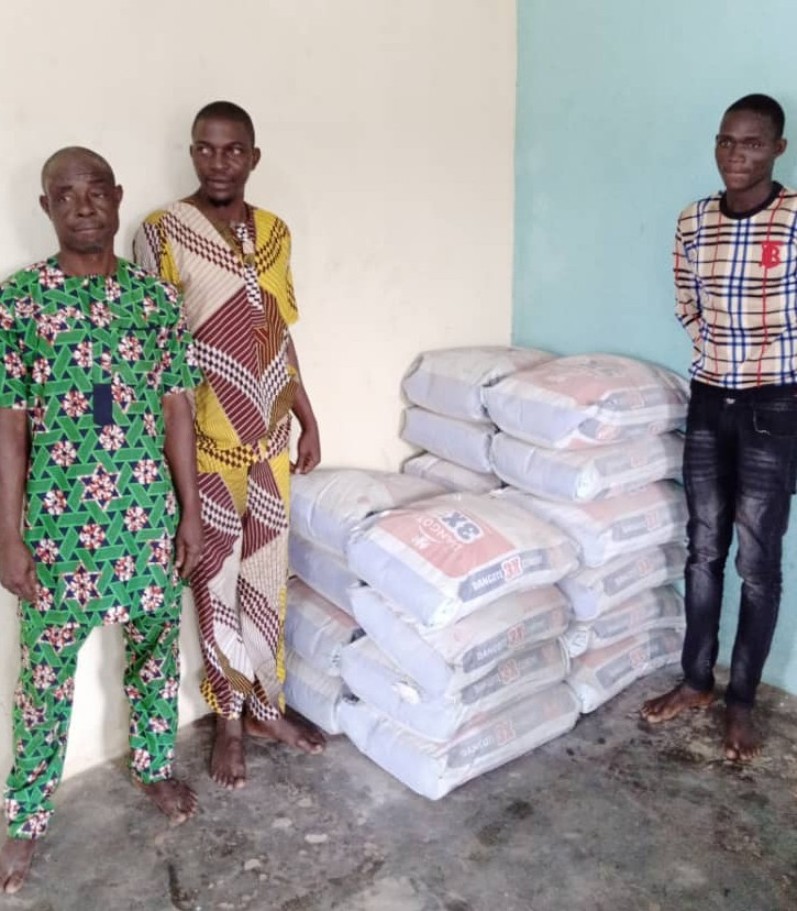 Three tricycle operators arrested in Ogun for stealing 300 bags of cement.