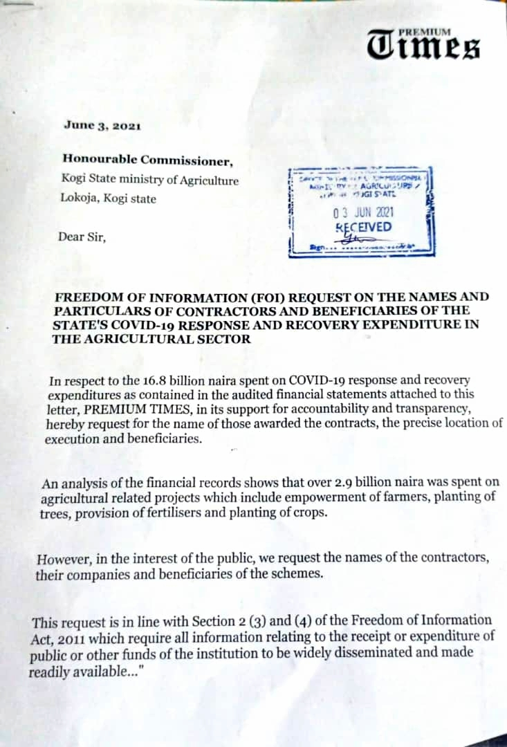 Received copy of the FoI request