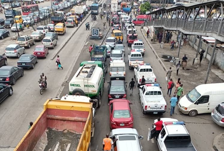 Traffic situation as a result of the road blockage