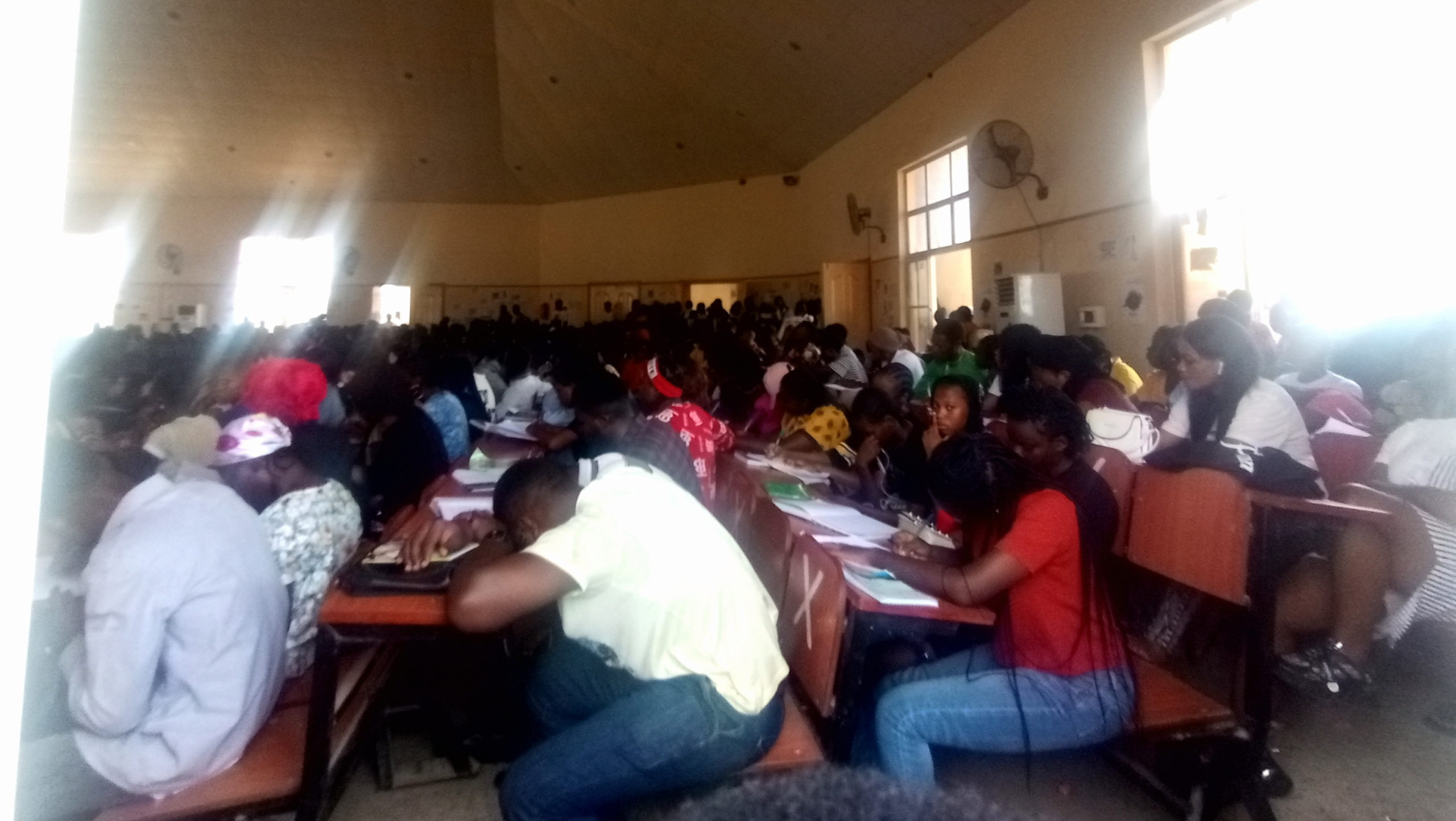A lecture theatre filled to the brim in the Faculty of Social Sciences, Federal University Oye-Ekiti