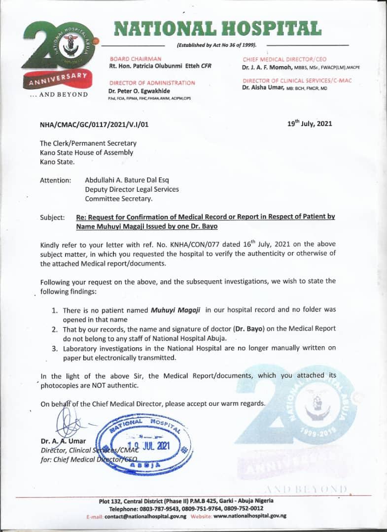 Letter from National Hospital Abuja