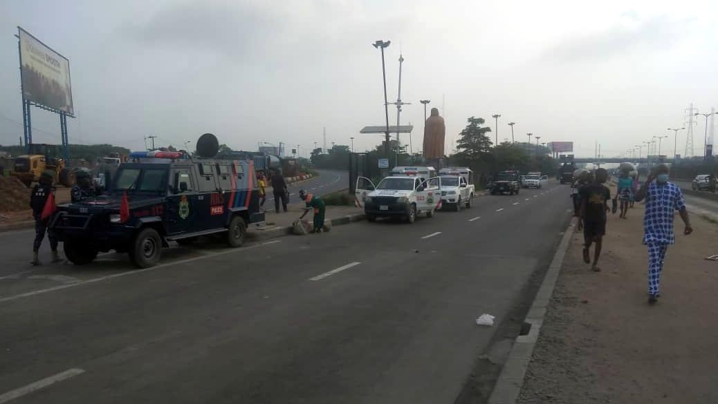 Heavy police presence in Ojota, Lagos ahead of the Yoruba nation rally.