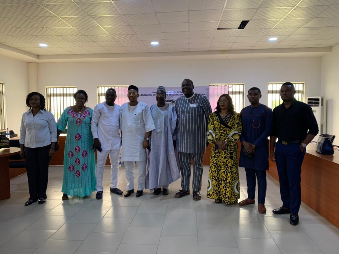 The Teachers Registration Council of Nigeria (TRCN), Josiah Ajiboye, Emmanuel Ubaka, the convener of the Teachers' Naija Reality TV Show and others at the flag off event on Thursday