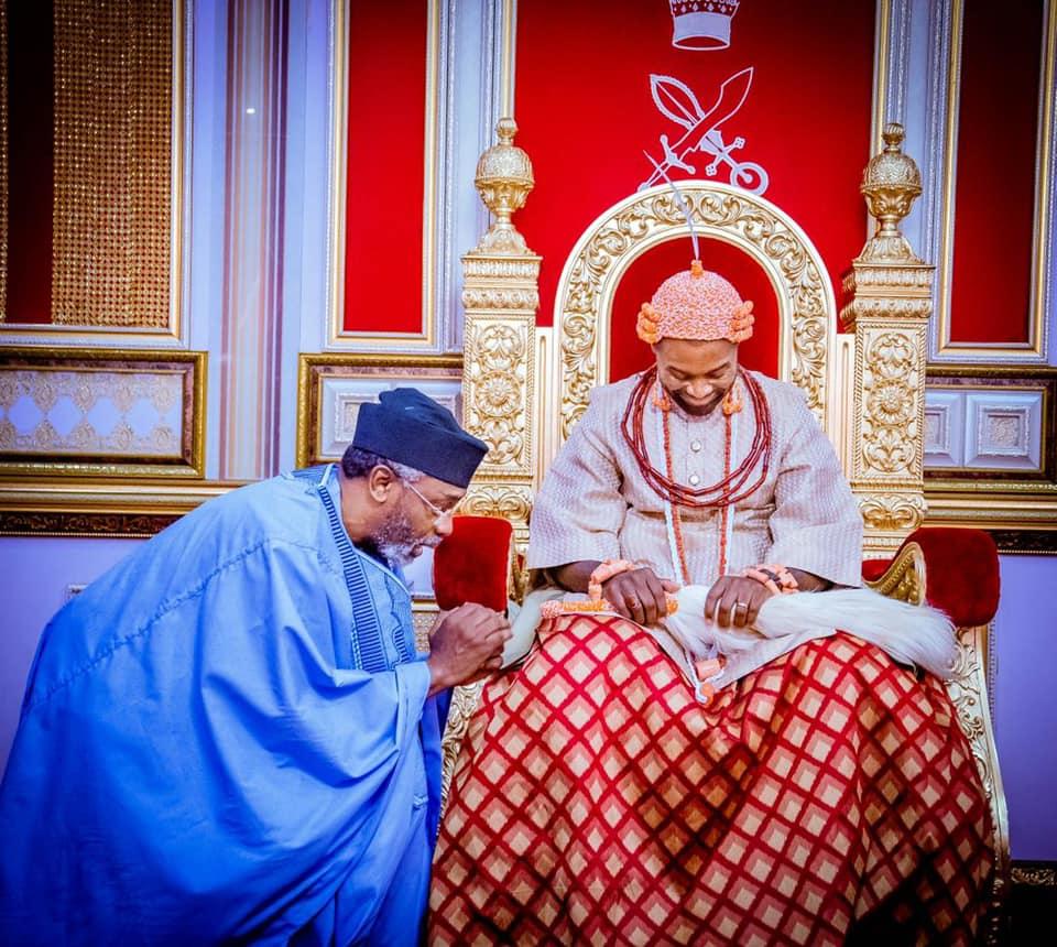 Gbajabiamila visits Olu of Warri [PHOTO: FB Femi Gbajabiamila]