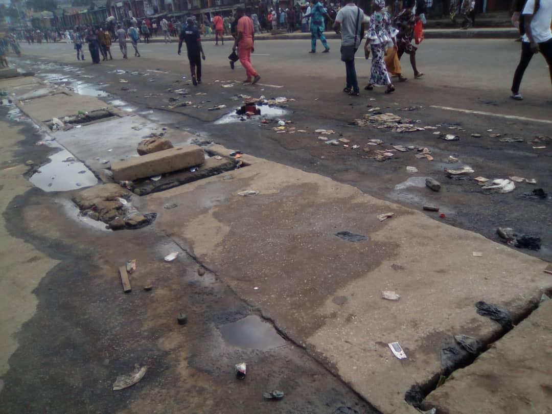 Spilt content of PMS Pipeline vandalism in Ikotun/Igando area of Lagos