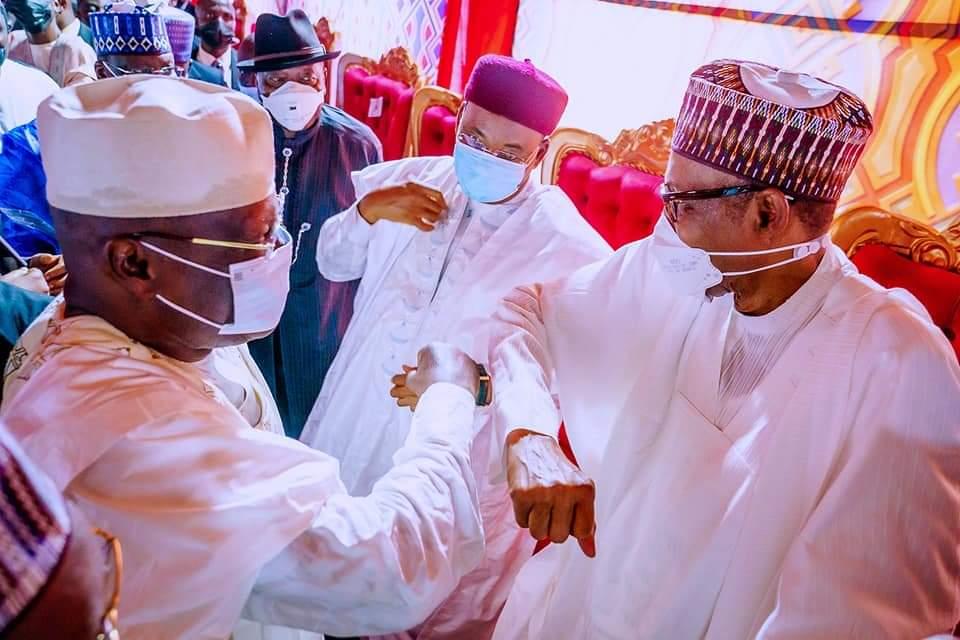 Buhari, Atiku exchange pleasantries at Yusuf Buhari's wedding in Kano