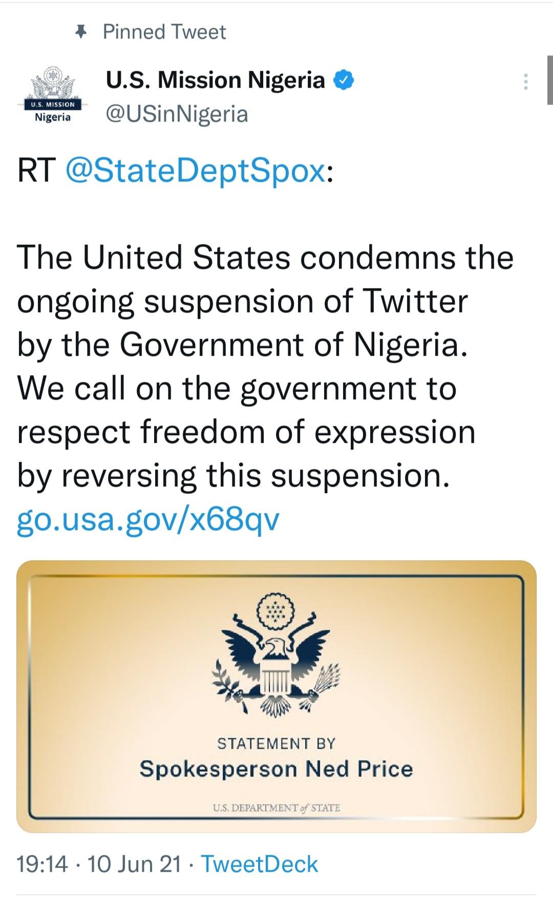 Pinned Tweet condemning Twitter Ban in Nigeria