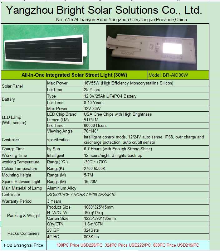Specifications for Solar Power Street Lights from a Chinese Company