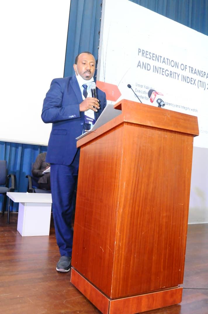 Umar Yakubu presenting the Transparency and Integrity index