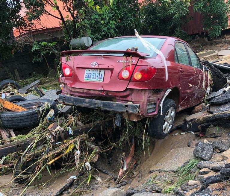 Damaged car by flood