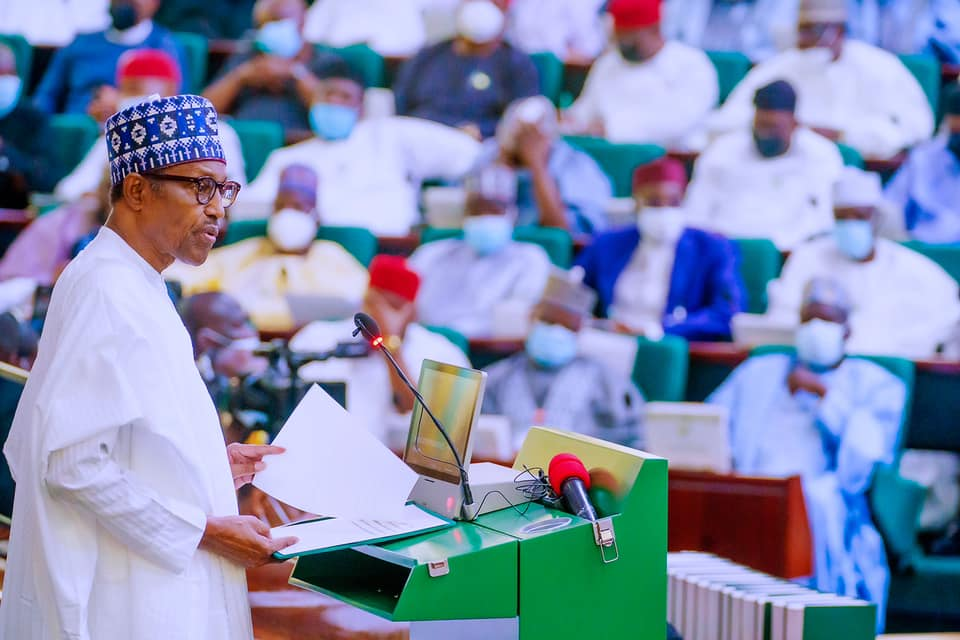 The President presenting the 2022 Budget of Economic Growth and Sustainability at the joint session of the National Assembly today.