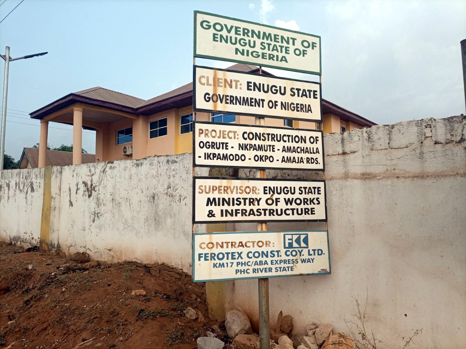 Project signpost mounted at Ogrute, Enugu Ezike.