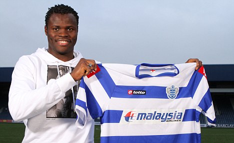 Taiye Taiwo being presented to the QPR fans