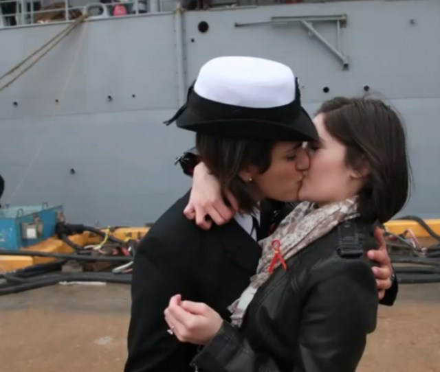 Lesbian Couple Share First Kiss After Navy Ship Docks Video