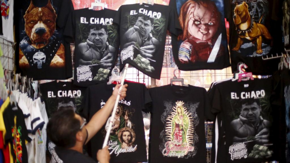 A seller displays El Chapo T-shirts for sale in the Tepito neighborhood of Mexico City on Jan. 25, 2016.