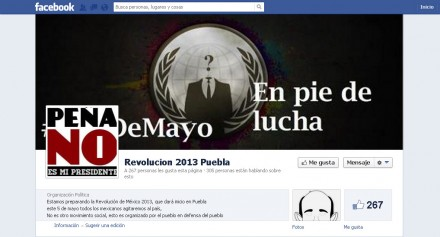 """La página de Facebook """"Revolución 2013"""". Foto: Tomada de Facebook"""