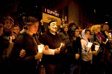 Los indignados de Wall Street. Foto: Alejandro Saldívar