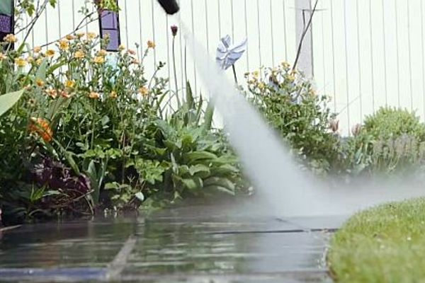 your patio with a pressure washer