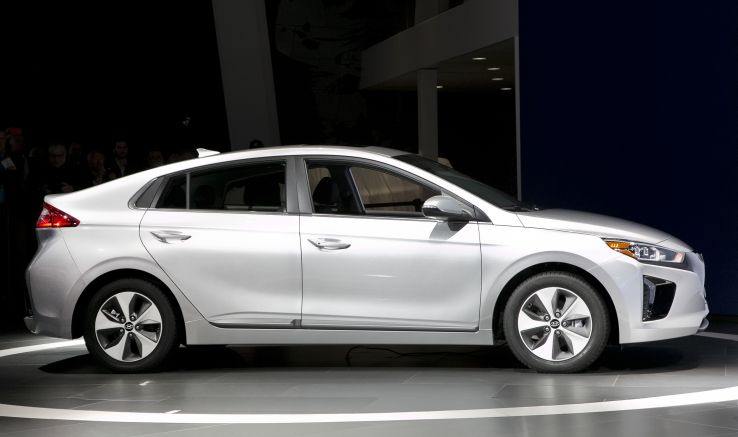 A white 2017 Hyundai Ioniq electric vehicle