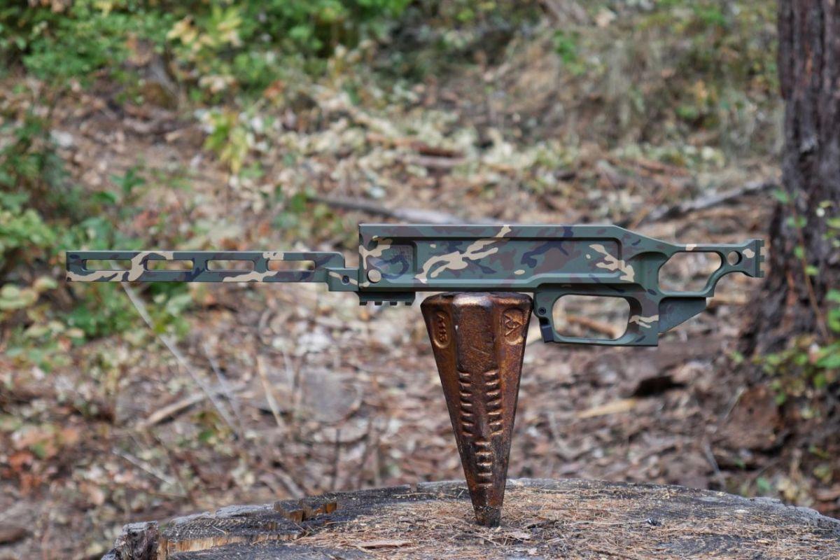 Black Collar Arms Pork Sword Chassis Mini M81 Camo left