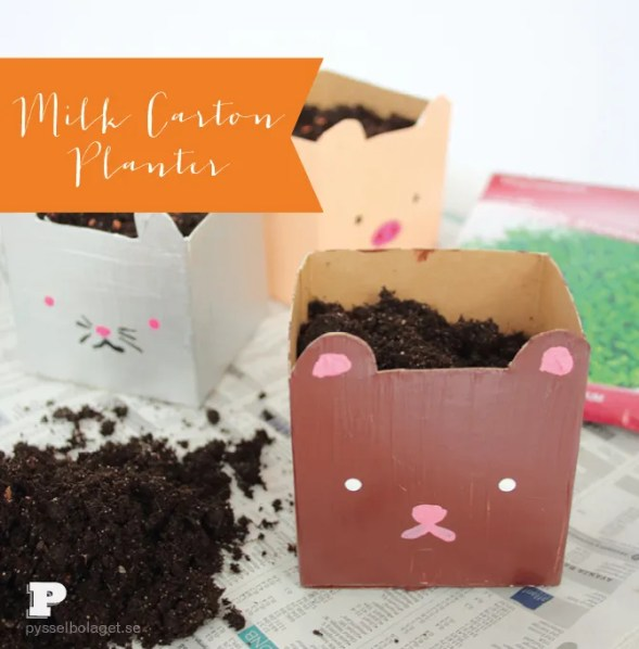 spring crafts for kids milk carton planters