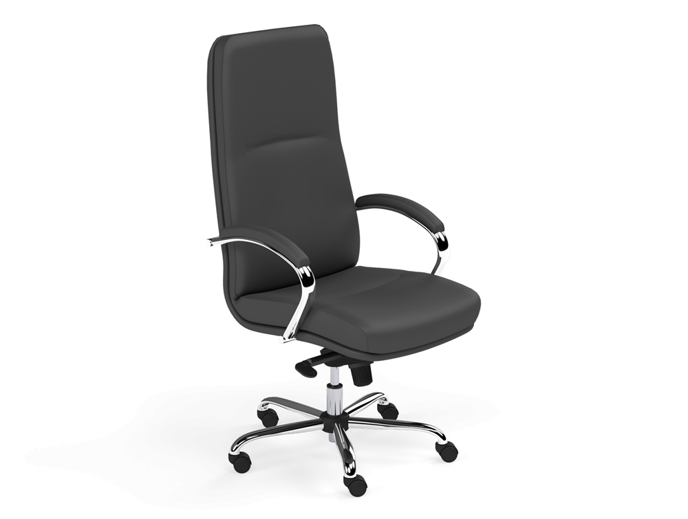 Idaho High Back Office Swivel Chair With Padded Arms In Black