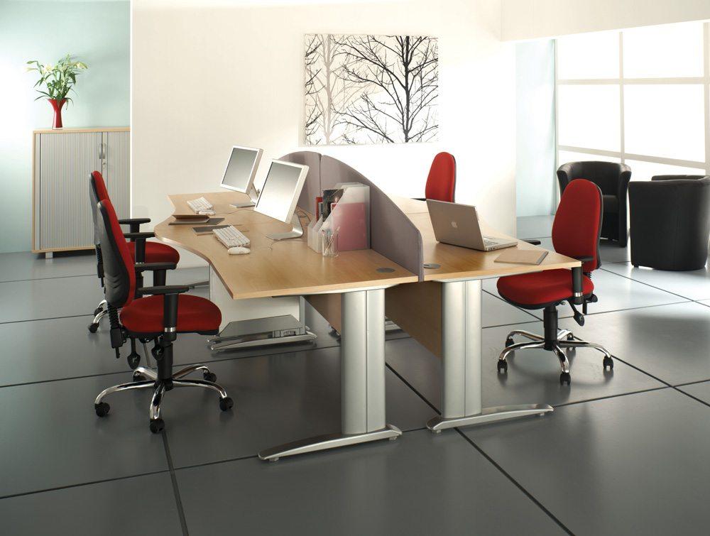 Komo Cable Managed Radial Desk With Desk-High Pedestal In