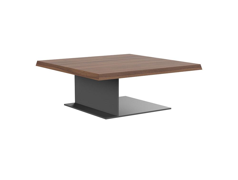 soreno executive low coffee table with square metal base